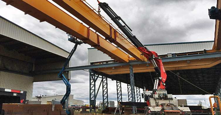 Overhead Cranes Nisku : Fassi lifts lbs girder in canada crane