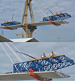 Two of four Fassi cranes model F1100RA.2.28 he-dynamic are working on the new bridge at Cadiz
